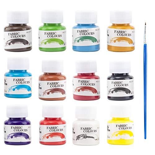 Erlliyeu Waschfest Stofffarben, 12 Farbige Wasserfest Textilfarbe   25 ml Pro Flasche für Textil