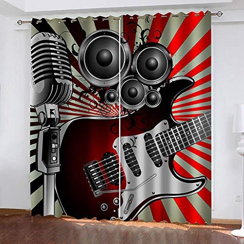 Wangcheng1 microfoon voor gitaar, verduisteringsgordijnen en vlaggen met ogen, isolerend, met voering – (117 x afmetingen 138 cm x 2 panelen)