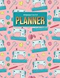 Productivity Planner: Teal Sewing Machine Accessories Art Pattern on Pink / Undated Weekly Organizer / 52-Week Life Journal With To Do List - Habit ... Calendar / Large Time Management Agenda Gift