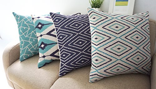 Howarmer Square Cotton Linen Teal and Turquoise Decorative Throw Pillow Cover Set of 4 Blue Geometric 18'x 18'