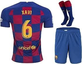 Fimng Xavi #6 2019-2020 FC Barcelona Kids/Youths Home Soccer Jersey/Short/Socks Colour Red/Blue