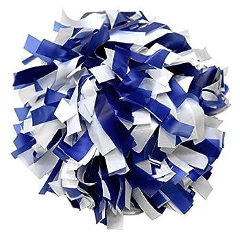 kuugear Pair 6  Plastic Cheerleading Pom Pom with Baton Handle - Royal Blue/White