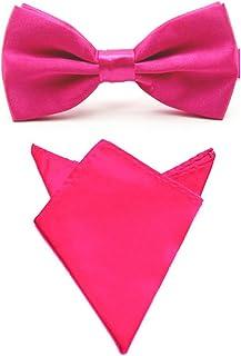 Men Satin Solid Color Pre-tied Tuxedo Bowtie Bow Tie Handkerchief Pocket Square Set (Hot Pink)