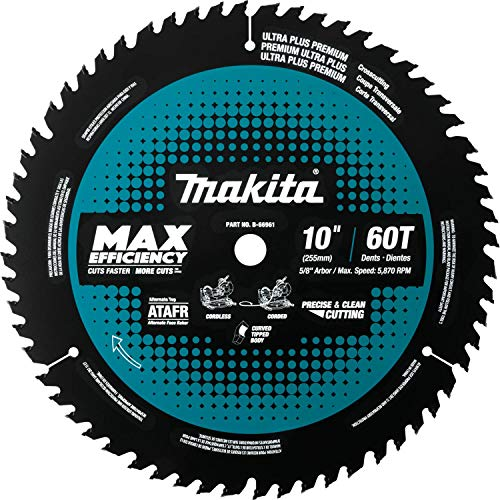 "Makita B-66961 10"" 60T Carbide-Tipped Max Efficiency Miter Saw Blade"