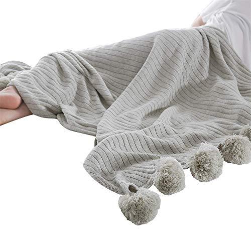 Manta de Bola Grande de algodón Suave de Color sólido Que Hace Punto, Gris, 150 * 200Cm
