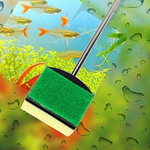 Roze Hagedis Aquarium Glas Borstel Vis Tank Schoonmaak Tool RVS Handvat Schone Zeewier Aquarium benodigdheden