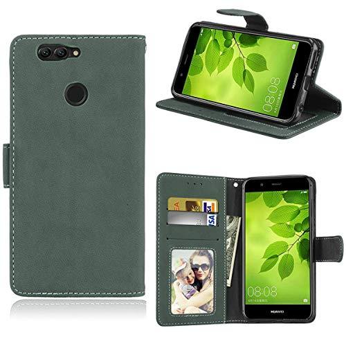 Sangrl Lederhülle Schutzhülle Für Huawei Nova 2 Plus, PU-Leder Klassisches Design Wallet Handyhülle, Mit Halterungsfunktion Kartenfächer Flip Hülle Grün