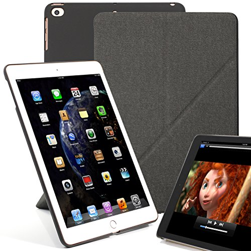KHOMO iPad 9.7 Origami Hülle Hülle 2018, 2017, Air 1 Gehäuse mit Doppeltem Schutz Ultra Dunn & Super Leicht Smart Cover Schutzhülle für iPad 9.7 2018, 2017 - Grau