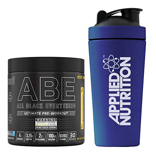 Applied Nutrition Bundle ABE Pre Workout 315g + 750ml Steel Protein Shaker | All Black Everything Preworkout Boosts Energy & Performance with Citrulline, Creatine, Beta Alanine (Mystery Flavour)