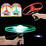 Liberty Imports 2 PCS Light Up Rip Cord UFO Flying Saucers | 12-Inch LED Large Copter Sky Launcher Aerial Disc Pull Cord Toy for Kids and Adults