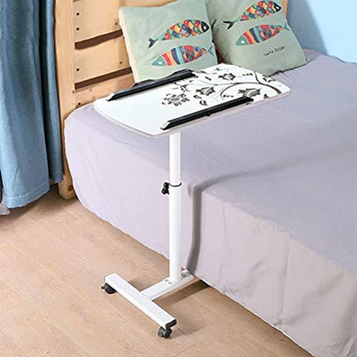 Laptoptafel, bureaublad kan worden gedraaid, koolstofstaal, in meerdere hoeken verstelbaar, in hoogte verstelbaar, slaapzaal, bed, bank, gazon wit