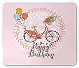 Tapis de Souris d'anniversaire, Joyeux Anniversaire Design avec Couronne de Fleurs de Ballons de vélo sur Fond Pastel, Tapis de Souris,