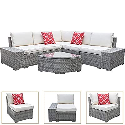 On Shine 6 Pieces Outdoor Patio Wicker Rattan Sofa,Outdoor Rattan Furniture Set with Comfortable Cotton Cushions and Glass Table,Manual Weaving Wicker Rattan Patio Conversation Sets (Gray)