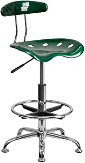 Flash Furniture Vibrant and Chrome Drafting Stool with Tractor Seat
