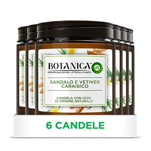 Airwick Botanica, Candele Profumate con Cera di Origine Naturale, Confezione da 6 Candele, fragranza Sandalo e Vetiver Caraibico, fragranza naturale - Candele da 205 gr