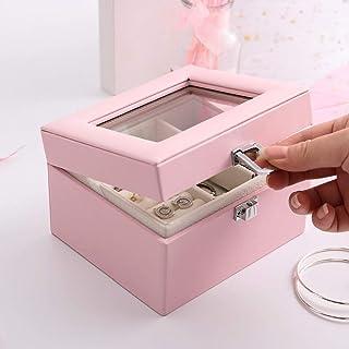 Zhicaikeji Boîte de Rangement pour Bijoux Boîte à Bijoux en Cuir Vintage pour Femme (Couleur : Pink, Size : 13.4 * 11.5 * ...
