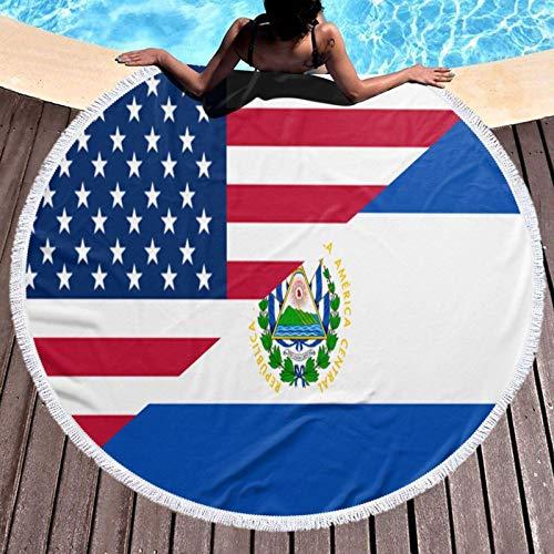 Chunwei Toalla de Playa Redonda con Bandera de El Salvador y Estados Unidos, Manta de 59 Pulgadas, Mantel de algodón, Toalla de Picnic, Esterilla de Yoga para Adultos/niños