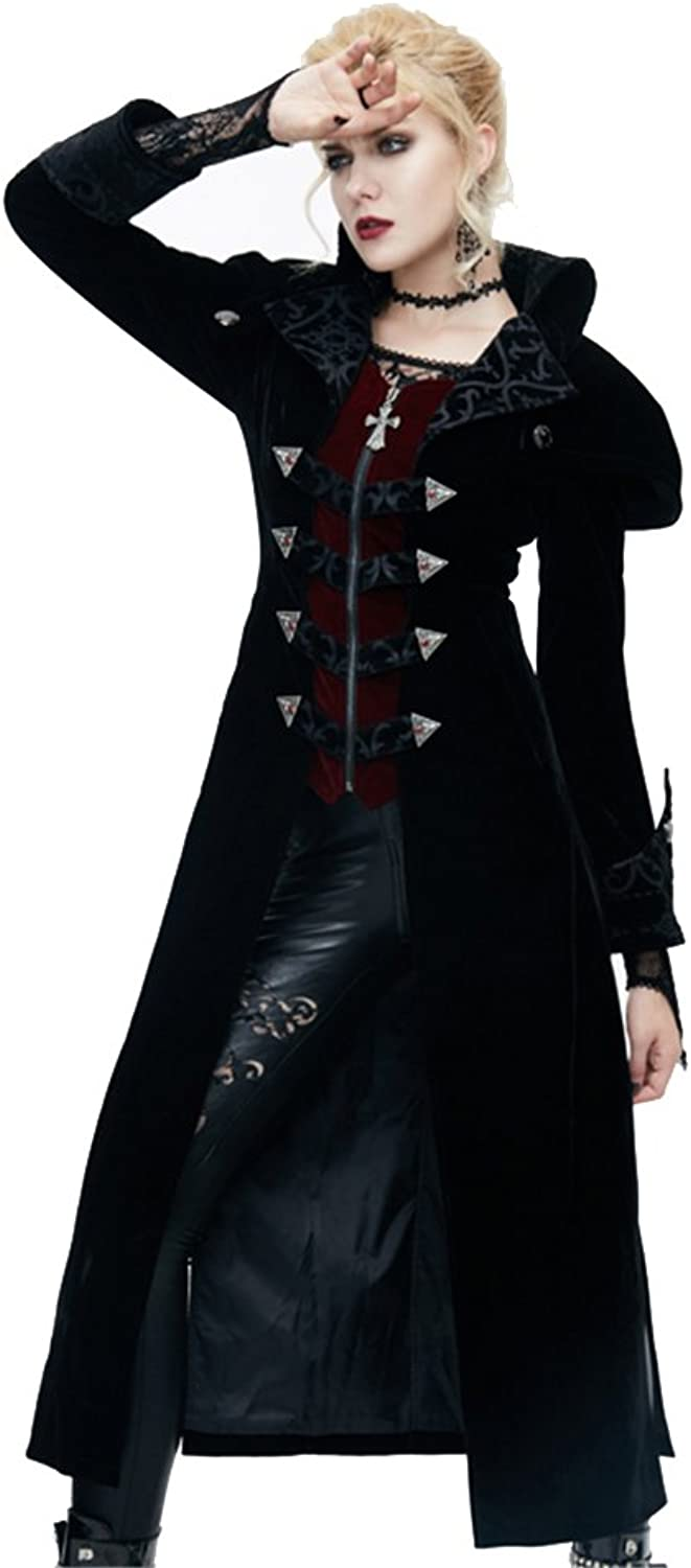 Devil Fashion Punk Women StandCollar Long Winter Jacket Gothic Side Spilt Casual Coat Cosplay Outfit