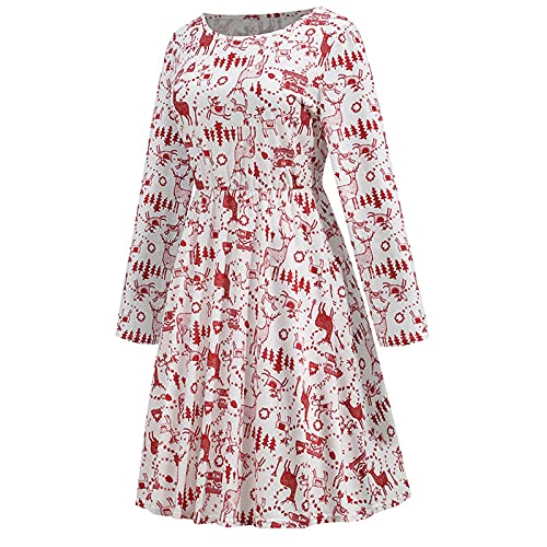 PIMOXV 2021 Xmas Pleated Dresses Full Graphic Long Sleeve Crewneck Tshirts Dress Baggy A-Line Swing Casual Fall Tunic Dress Red