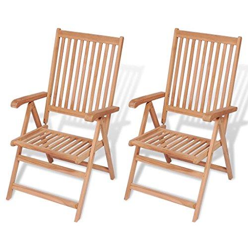 Festnight Reclining Garden Chair Teak Sun Lounger Patio Outdoor Rocker Set of 2