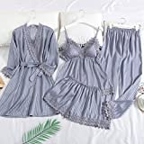 YYMMQQ Pijamas de Mujer,Spring and Summer Ice Silk Pajamas Women Shorts Set Thin Long-Sleeved Robes with Shorts Pajamas Set Four-Piece Sexy Home Clothes,1,XL