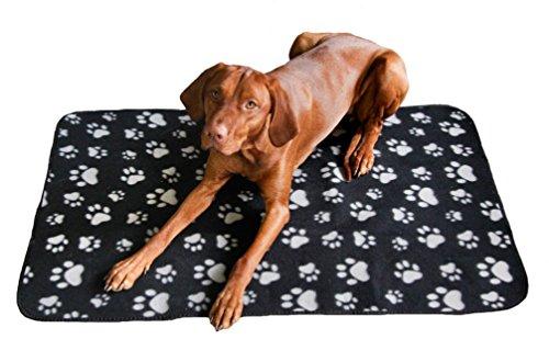 Quantum Interior Haustierdecke Hundedecke XL - ca. 100x150 cm, wasserdichte Unterlage, Haustier Decken für Hunde und Katzen Fleecedecke GRATIS Versand (Anthrazit/Schwarz)