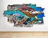 Pegatinas de pared Tortuga Acuario Peces Océano Mar Coral Calcomanía Póster 3D Art Viny Poster Mural Artístico - 80x120CM