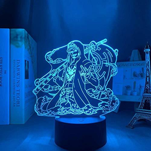 Una pieza LED Luz nocturna Trafalgar D Water Law Niños Dormitorio Decoración Anime Japonés 3D Lámpara Trafalgar Ley Una pieza de 16 Color con Mando a Distancia