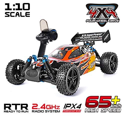 Rraycom HSP 1:10 Scale High Speed 65km/h 4WD Off-Road RC Car 2.4Ghz Remote Control Truck,Radio Controlled Off-Road Racing Car Monster Truck R/C RTR