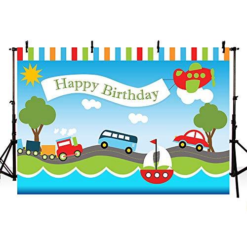 Mehofoto - Telón de fondo para fiesta de cumpleaños infantil con dibujos de medios de transporte, coche, barco, tren y autobús, con cielo azul y nubes blancas, panel para fotos de 2,1 x1,5 m