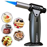 Butane Torch Kitchen Torch Lighter Culinary Butane Torch Refillable Professional Flame Adjustable Blow Torch for BBQ Creme Brulee Cooking Cigar Grill Torch Lighter Gun(Butane Gas Not Included)