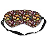 100% Silk Sleep Mask Eye Mask Dinosaur Comfortable Soft Best Sleeping Eyeshade Blindfold with Adjustable Strap for Travel Work Naps Blocks Light