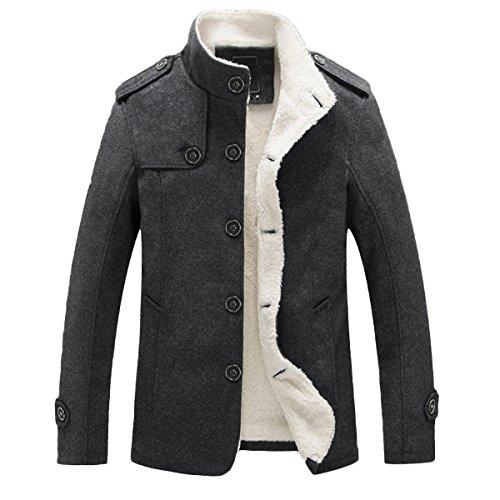Mirecoo Uomo Moda Cotone Lino Miscele depoca Mantello anteriore aperto del cappotto del bicchierino One Button Jacket