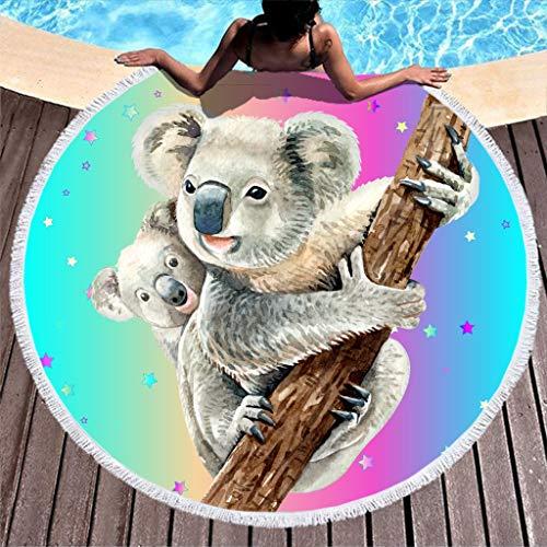 Gamoii Rundes Strandtücher Badetuch Koala Mutter und Kind Tier Picknickdecken Strandmatte Frottee Badetuch Überlegen Tapestry mit Quaste für Erwachsene Kinder Outdoor & Reisen White 150cm