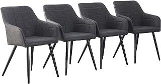 CLIPOP - Juego de 4 sillas de Comedor de Piel sintética con Respaldo y reposabrazos, sillas de recepción para el hogar y la Oficina, Gris Oscuro, 60 * 56 * 82 CM