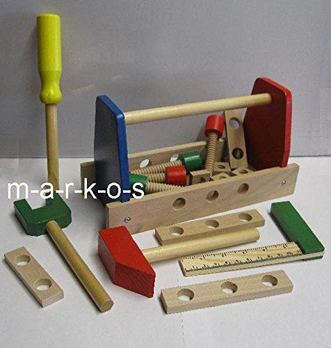 Land-Haus-Shop Kinder Werkzeugkasten, Holz Spielzeug 17 Teile, Holz Werkzeug für Kinder (LHS)