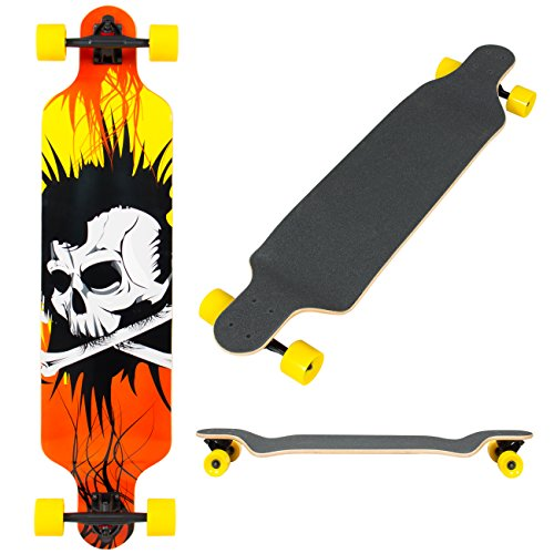 Best Choice Products 41in Outdoor Professional Longboard Cruiser Skateboard w/Maple Drop Through Deck - Yellow/Black