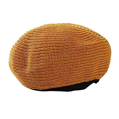 HRS Primavera Verano Mujer Boinas de Punto Señoras Gorra Plana sólida Moda Crochet Gorras francesas Estrellas Pintor-Amarillo, Talla única