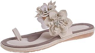 Women Open Toe Slipper Sandals, Ladies Summer Flock Flats Breathable Sandals Slip-On Flowers Beach Shoes