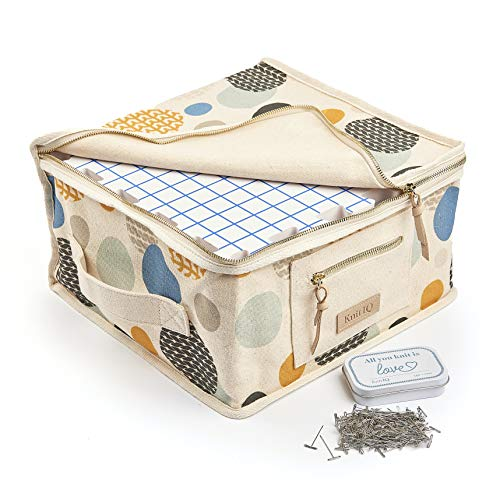 KnitlQ Premium Kit - 9 Tapis de Blocage Tricot de Mousse Extra Épaisse avec Grilles, 150 Épingles en T en Étain Artisanal, Sac Rangement Tricotage - Design Artisan