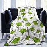 Romance-and-Beauty Microfleece-Decke Viele Gingko-Blätter Bedruckte ultraweiche, leichte,...