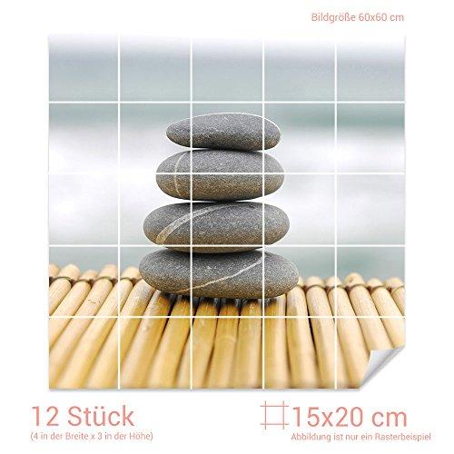 GRAZDesign Fliesenaufkleber Esoterische Steine für Kacheln Bad-Fliesen mit Fliesenbildern überkleben (Fliesenmaß 15x20cm (BxH) / Bild 60x60cm (BxH))