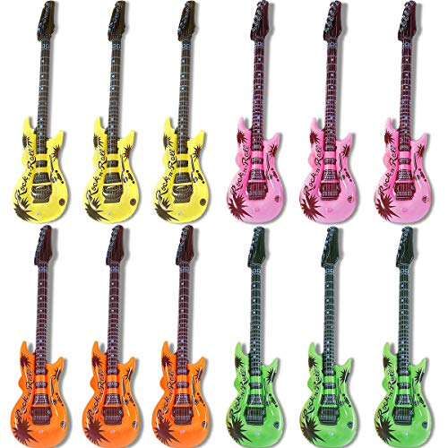 Novelty Place Inflatable Guitar for Kids - Blow Up Electric Guitars Assorted Colors, Waterproof Inflatable Rock Star Guitar Toy for 80s 90s Musical Concert Themed Party Favor(35 Inches, Pack of 12)