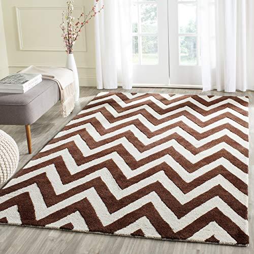 Safavieh Strukturierter Teppich, CAM139, Handgetufteter Wolle, Dunkelbraun/Elfenbein, 90 x 150 cm