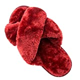 Womens House Fuzzy Slippers Leopard Cross Band Soft Plush FluffySlippers Furry Fleece Slip on Slippers Open Toe House Warm Bedroom Shoes Slides for Indoor Outdoor (Wine Red, numeric_9)