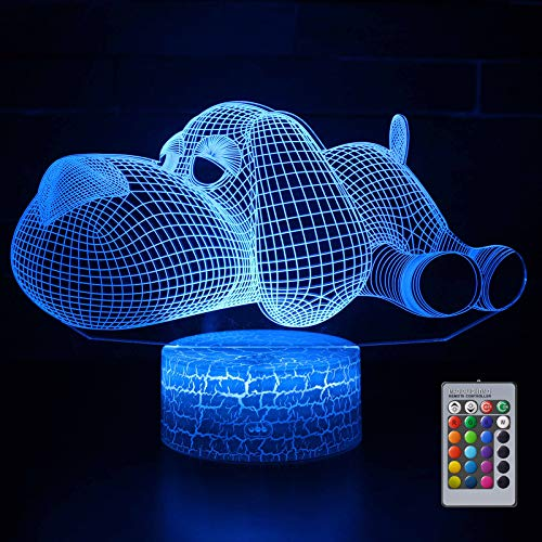 Dog 3D Optical Illusion Lamp, 3D Night Light Gift for Kids, 8 7 6 Year Old Girl Gifts, 9 8 7 Years Boys Birthday Present, Boy Gift Age 12 11 10 9 8 7 6 5, Animal Figures 3D Light