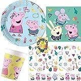 HHO Peppa Pig - Juego de fiesta (37 piezas, 8 platos, 8 vasos, 20 servilletas y 1 mantel)