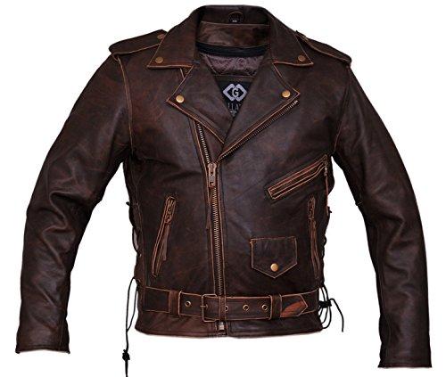 Herren Motorrad-Lederjacke, Braun Gr. XXXL, Vintage Brown