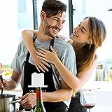 Uarter Schürze Set Küchenschürze Kochschürze Verstellbare Baumwolle Couples Küche Schürzen, Schwarz (2 Stücke) - 4