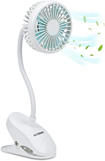 Vuffuw Portable USB Rechargeable Clip-On Mini Desk Fan with 3 Adjustable Speeds /& Flexible Tripod for Baby Stroller Student Bed Bike Car Gym Office Outdoor Traveling Camping Battery Operated Fan